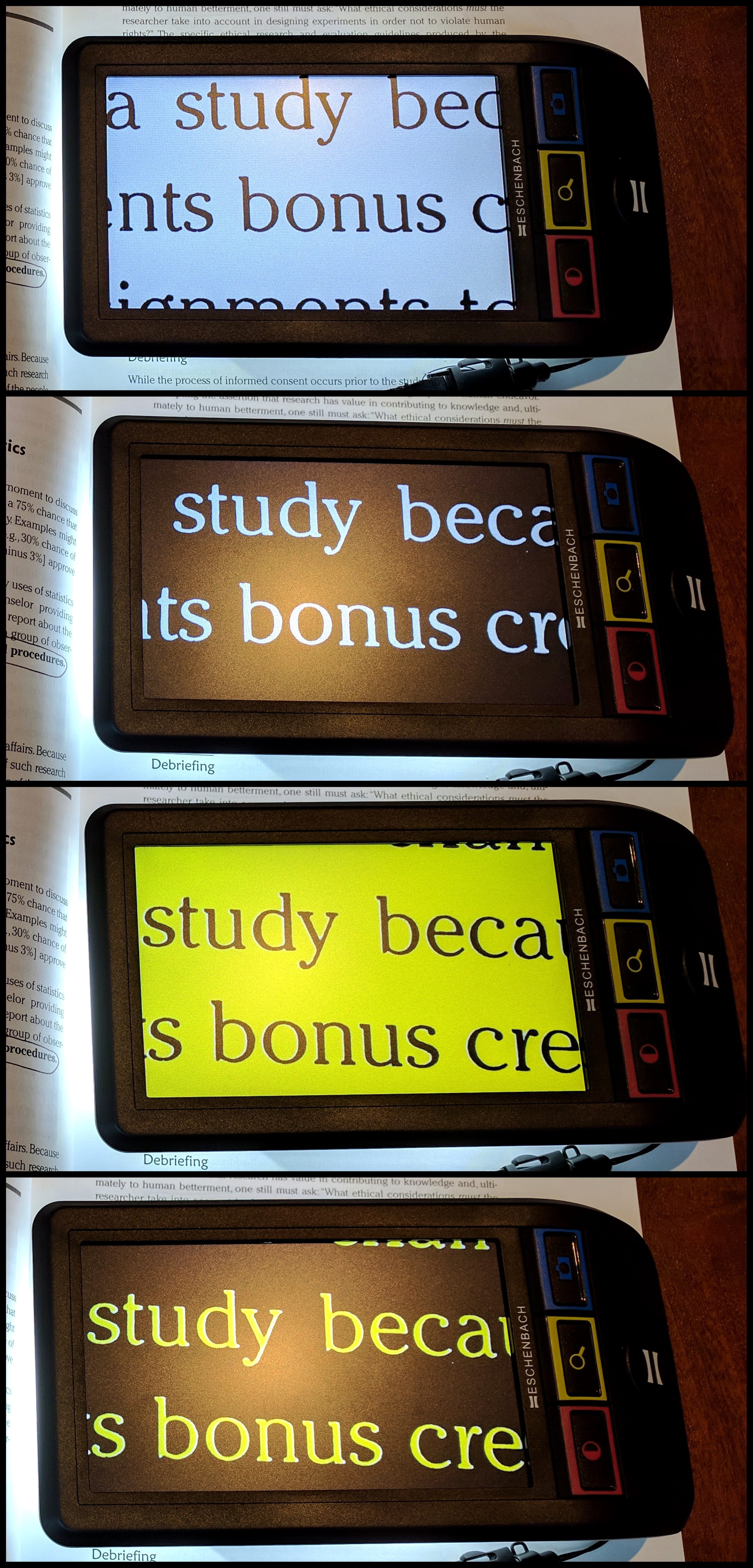 Four separate photos demonstrate the Smartlux in its four high contrast modes. black text on white, white text on black, black text on yellow, and yellow text on black.